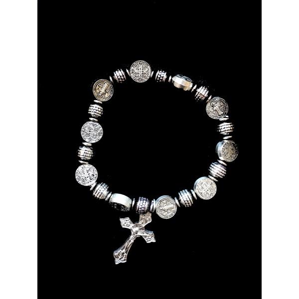 Aproce uz gumijas ar Svētā Benedikta medaljoniem (rožukroņa viens noslēpums)