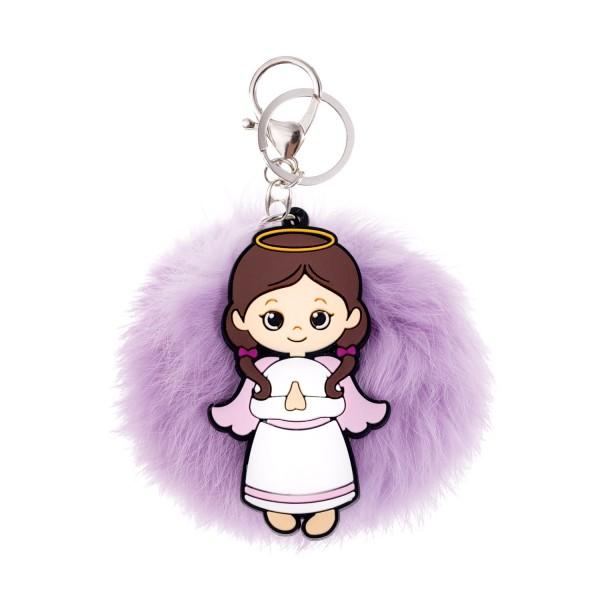 Atslēgu piekariņš eņģelis ar pūkainu bumbiņu
