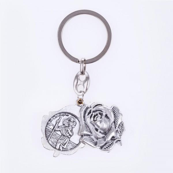 Atslēgu piekariņš roze ar Brīnumainas Dievmātes medaljonu