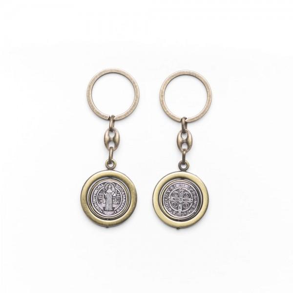 Atslēgu piekariņš rotējošu Svētā Benedikta medaljonu