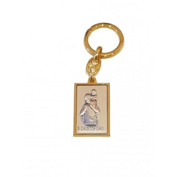 Atslēgu piekariņš ar Svētā Kristofera medaljonu (sudraba pārklājums)