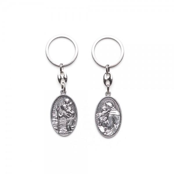 Atslēgu piekariņš ar divpusēju medaljonu Svētais Kristofers/Svētā Ģimene