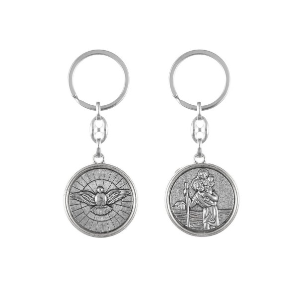 Atslēgu piekariņš ar Svētā Kristofera un Svētā Gara medaljonu