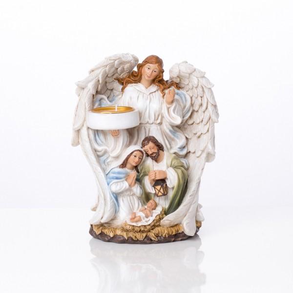 Figūra svečturis Sargeņģelis ar Betlēmi 18 cm