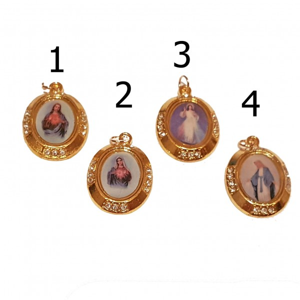 Zelta krāsas medaljons ar svētbildi (dažādi veidi) 2,5 cm