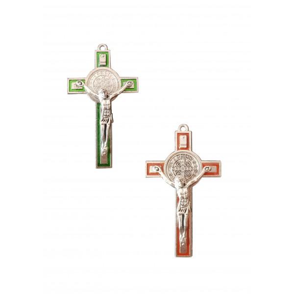 Sienas krusts metāla ar Sv. Benedikta medaljonu 7 cm