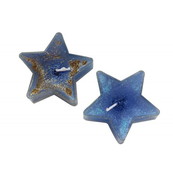 Tējas svece zvaigzne ar spīdumiem