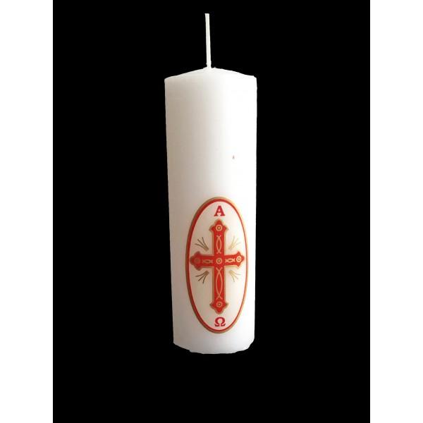 Svece cilindrs Alfa un Omega 12 cm