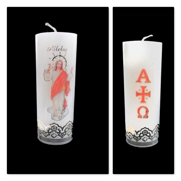 Svece cilindrs Kristus Augšāmcēlies! 15 cm