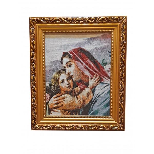 """Gobelēns """"Jaunava Marija ar bērnu"""" 27 x 32 cm"""
