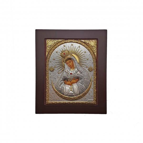 Ostrobramas Dievmātes sudraba ikona 11 x 13 cm
