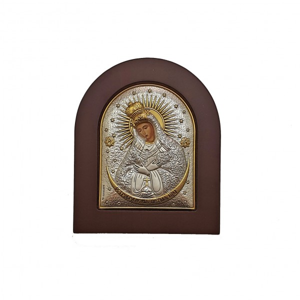 Ostrobramas Dievmātes sudraba ikona 8 x 9.5 cm