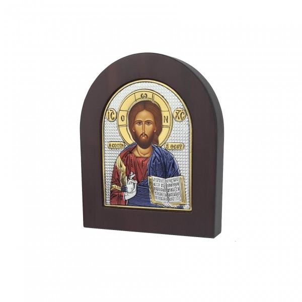 Sudraba ikona Kristus Glābējs  8.1 x 9.6 cm