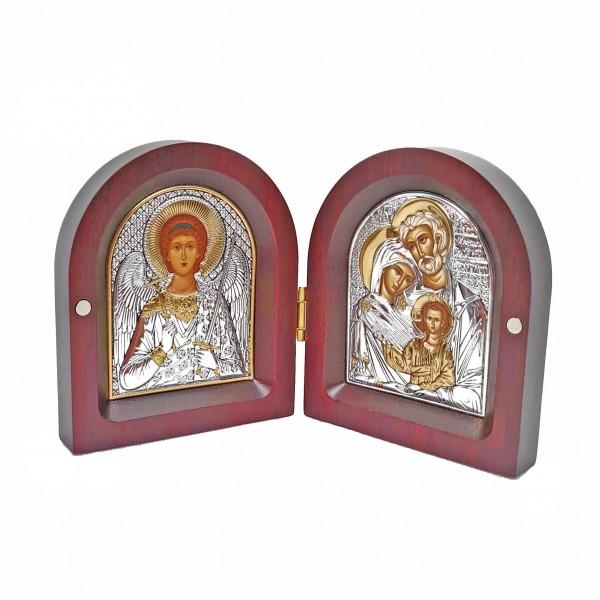 Saliekama sudraba ikona Sargeņģelis un Svētā Ģimene