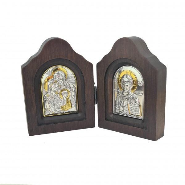 Saliekama sudraba ikona Kristus Glābējs un Svētā Ģimene