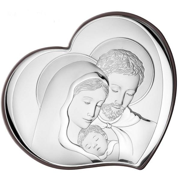 Sudraba svētbilde Svētā Ģimene sirds formā 10,5х9 cm