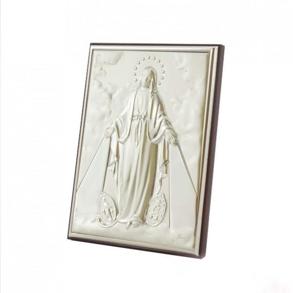 """Sudraba ikona  """"Brīnumaina Dievmāte""""  5,5 x  7,5 cm"""