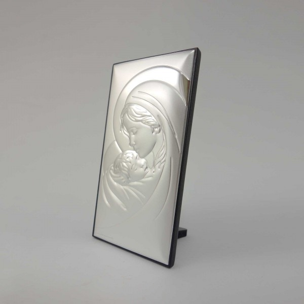 Sudraba ikona Jaunava Marija ar bērnu 12 x 6.5 cm