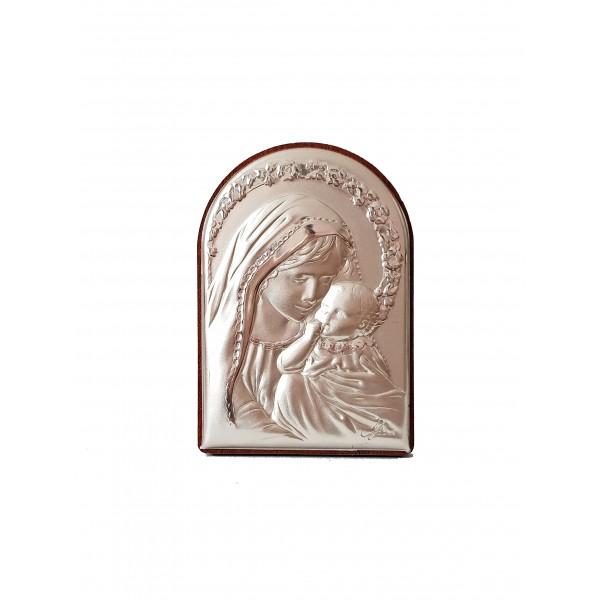 "Sudraba ikona ""Jaunava Marija ar bērnu"" 4 x 6 cm"