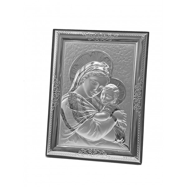 "Sudraba ikona ""Jaunava Marija ar bērnu"" 9 x 13 cm"