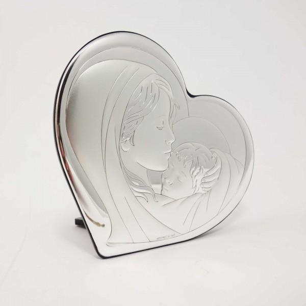 Sudraba ikona Jaunava Marija ar bērnu 11x9 cm