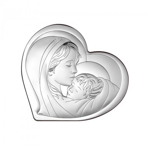 "Sudraba ikona ""Jaunava Marija ar bērnu"" 15.5 x 14 cm"