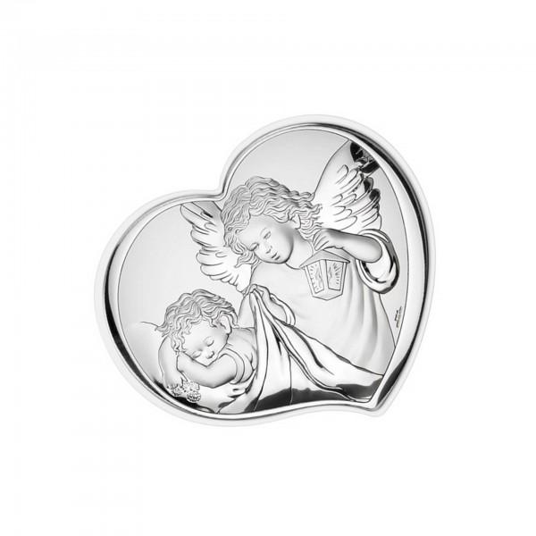 Sudraba svētbilde Sargeņģelis sirds formā 10,5x9 cm