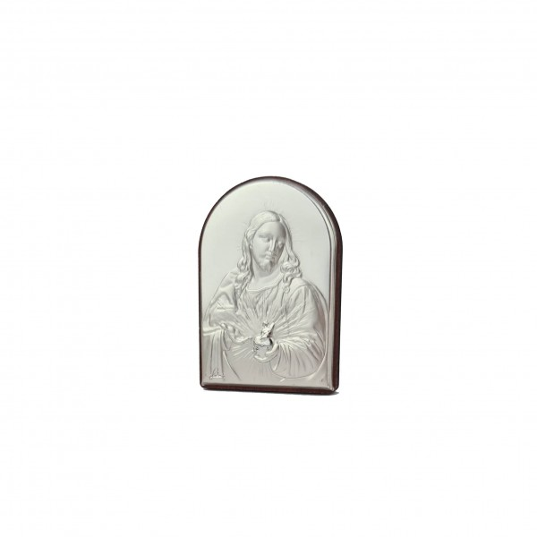 Sudraba ikona Vissvētākā Jēzus Sirds 4 x 6 cm