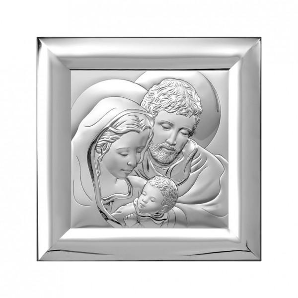 "Sudraba ikona ""Svētā Ģimene"" 12 x 12 cm"