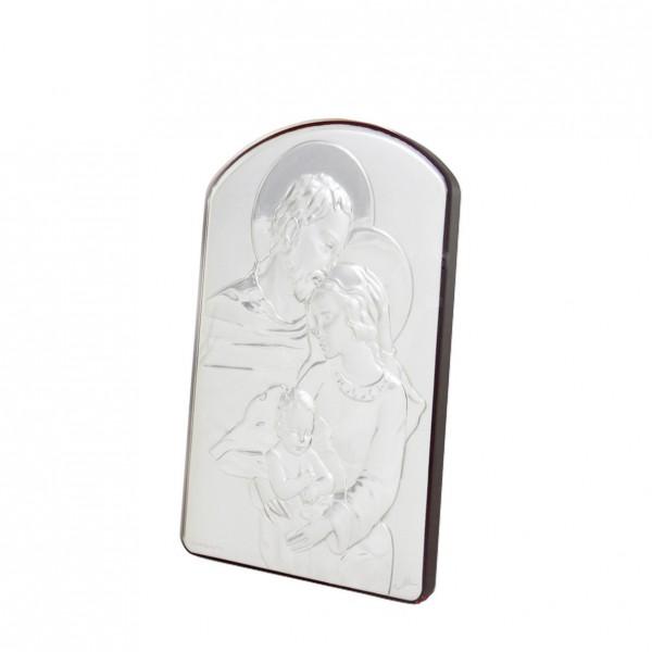 "Sudraba ikona ""Svētā Ģimene""  9 x 6 cm"