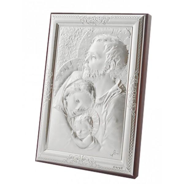"Sudraba ikona ""Svētā Ģimene"" 13 x 17 cm"