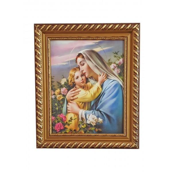 """Svētbilde rāmī """"Jaunava Marija ar bērnu"""" 27 x 32 cm"""