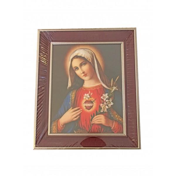 Svētbilde rāmī Vissvētākās Jaunavas Marijas sirds 27 x 32 cm