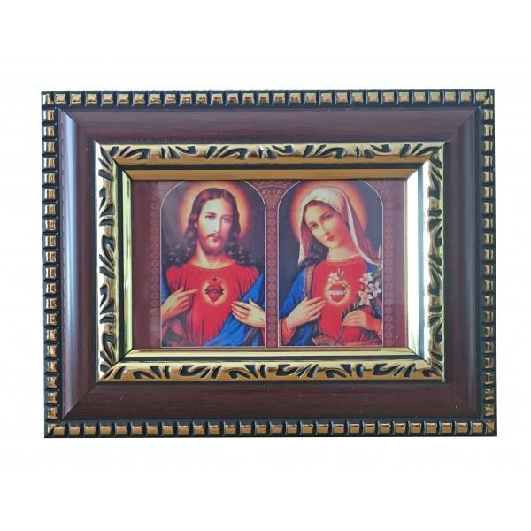 """Svētbilde  """"Vissvētākā Jēzus un Marijas Sirds"""" 14,5 x 11,5cm"""