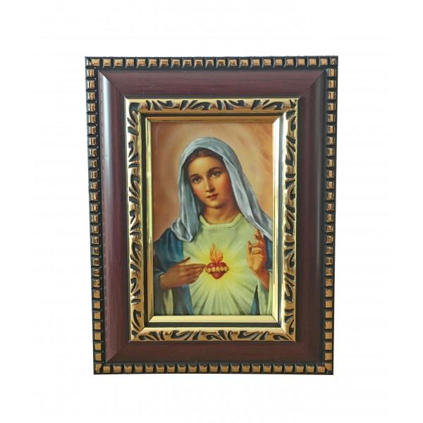 """Svētbilde rāmī """"Vissvētākās Jaunavas Marijas sirds"""" 14,5 x 11,5 cm"""