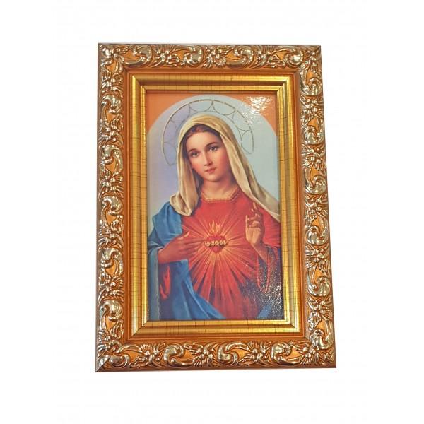 """Svētbilde rāmī """"Vissvētākās Jaunavas Marijas sirds"""" 9 x 13 cm"""