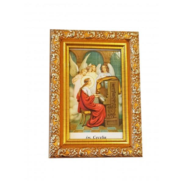 """Svētbilde  """"Svētā Cecīlija"""" 9 x 13 cm"""