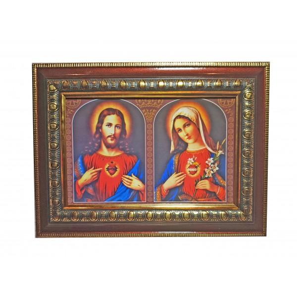 """Svētbilde """"Vissvētākās Jaunavas Marijas un Jēzus sirds"""" 16,5 * 21,5 cm"""