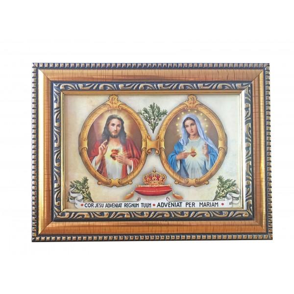 """Svētbilde """"Vissvētākās Jaunavas Marijas un Jēzus sirds"""" 14,5 x 19,5 cm"""