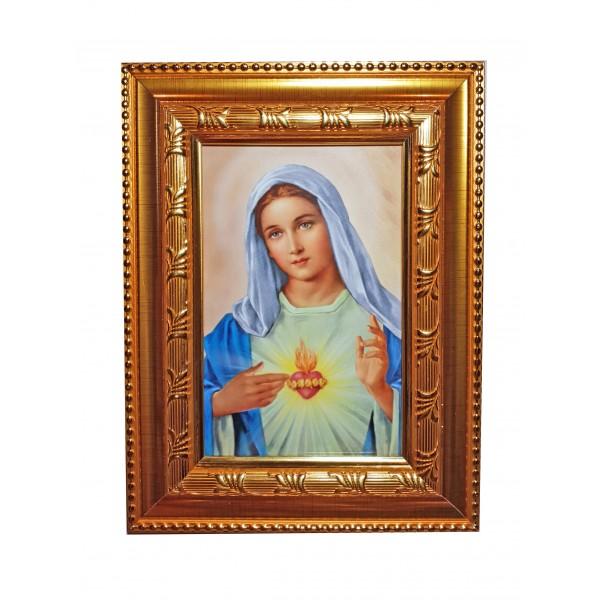 """Svētbilde """"Vissvētākās Jaunavas Marijas sirds"""" 16,5 * 21,5 cm"""