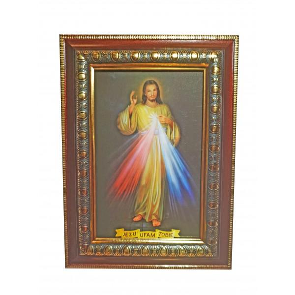 Svētbilde rāmī ar stiklu Žēlsirdīgais Jēzus 14,5 x 20 cm