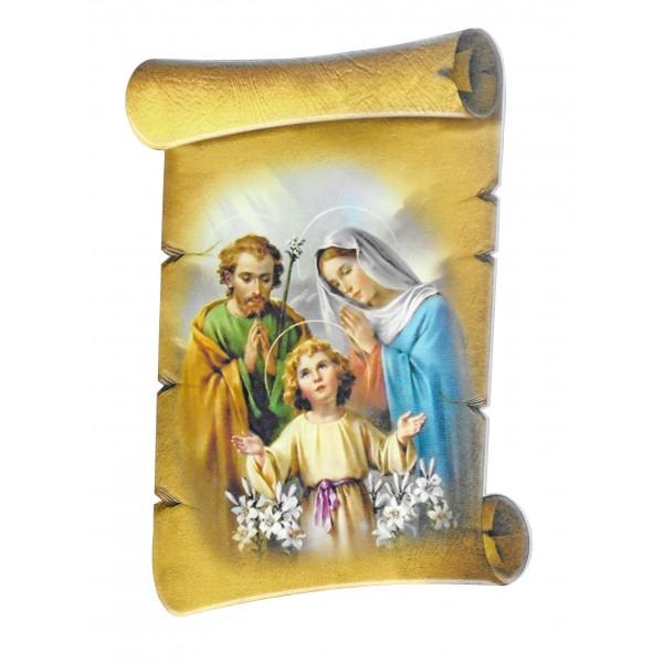 """Svētbilde uz ģipša """"Svētā Ģimene"""" 12,5 x 20 cm"""