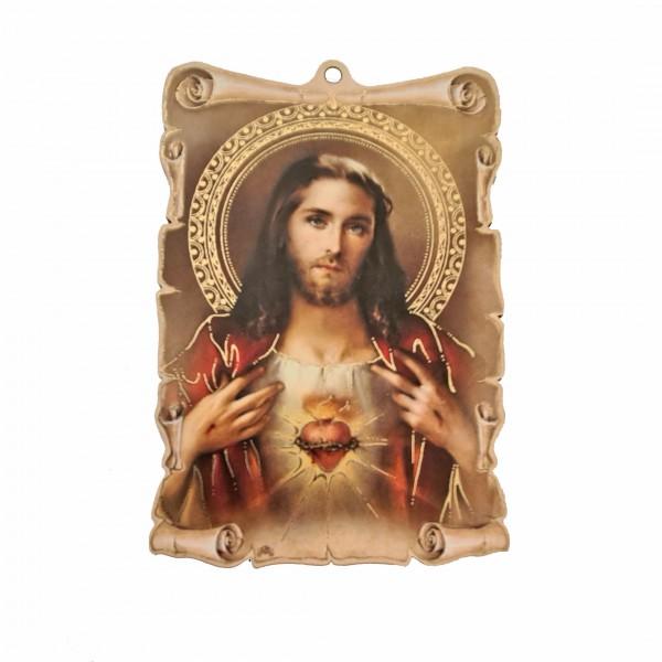 Vissvētākā Jēzus Sirds svētbilde uz plāksnes 9,5 x 13,5 cm