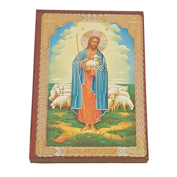 """Иконка с молитвой """"Добрый Пастырь"""" (Labais Gans) 6 x 8,5 cm"""