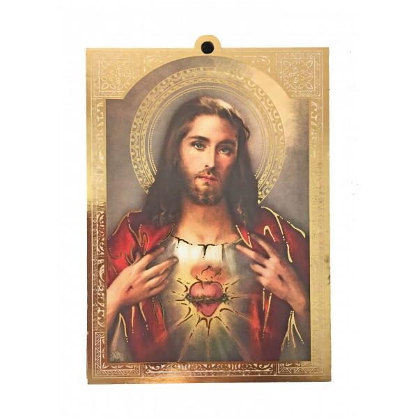 """Svētbilde uz plāksnes """"Vissvētākā Jēzus Sirds"""" 9,5 x 13,5 cm"""