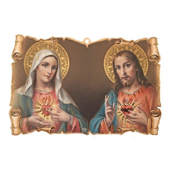 """Svētbilde uz plāksnes """"Vissvētākā Jēzus un Vissvētākās Jaunavas Marijas sirds"""" 9 x 14 cm"""
