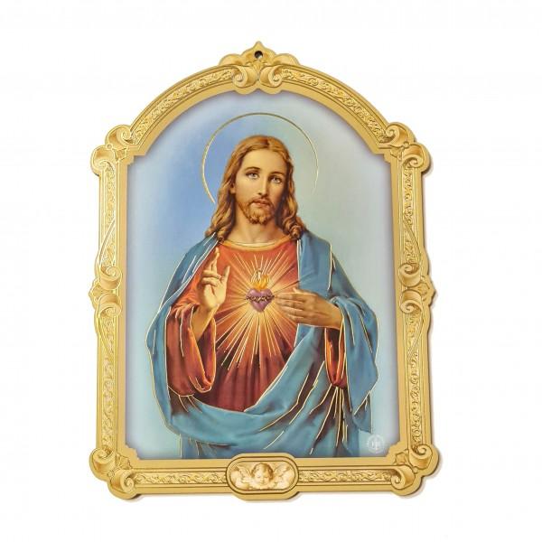 Svētbilde uz plāksnes Jēzus Sirds 17 x 23 cm