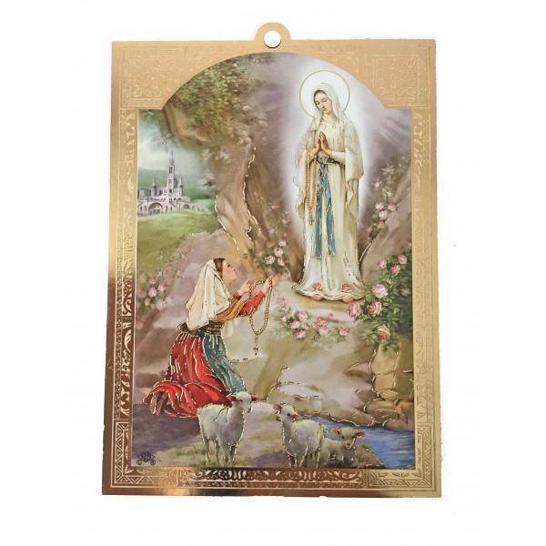 Lurdas Dievmāte svētbilde uz plāksnes  10 x 14 cm