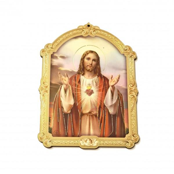 Svētbilde uz plāksnes  Vissvētākā Jēzus Sirds 10 x 14 cm