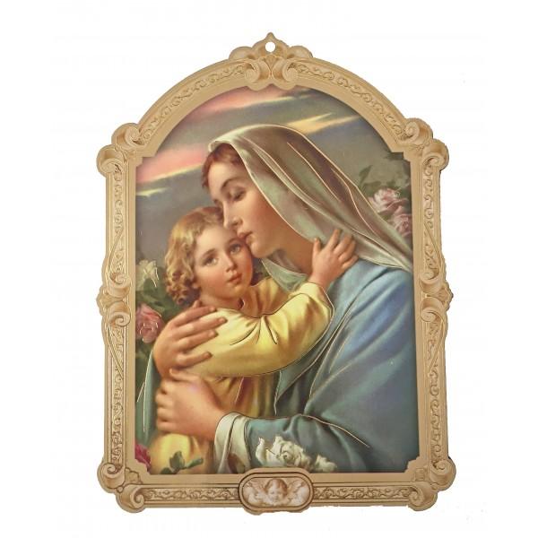 """Svētbilde uz plāksnes """"Jaunava Marija ar bērnu"""" 10 x 14 cm"""